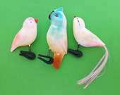 Birds, set of 3 vintage soviet Christmas tree decorations, Xmas, ornaments, made in USSR, 1960s