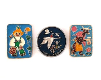1970s. Vintage Soviet pin badge Chipollino  Made in USSR