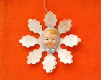 Rare Soviet Christmas tree decoration - Snowflake with baby face / Xmas tree ornament / New Year / USSR, 1940s
