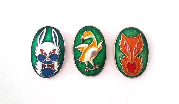 cartoon characters animals made in USSR 1970s birds Vintage soviet children/'s pin badges
