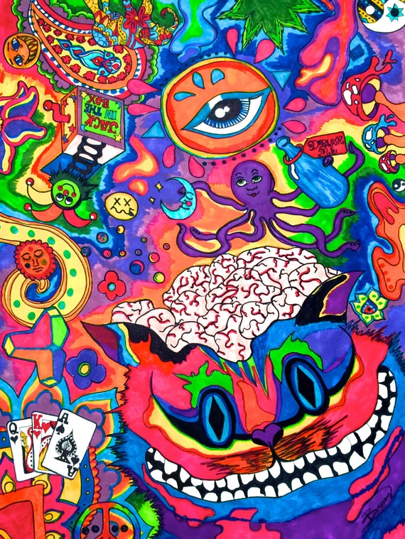 Items Similar To Psychedelic Cheshire Cat Drawing Surrealist Art