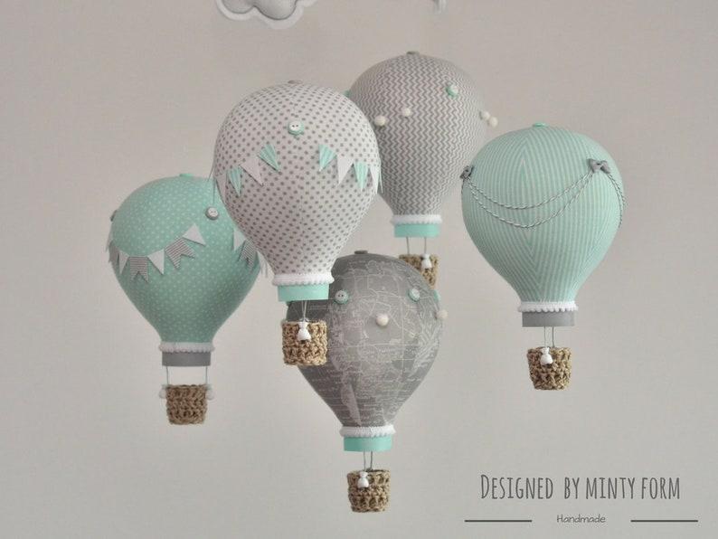 Mint Gray White Hot Air Balloon Mobile Travel Theme Nursery image 0