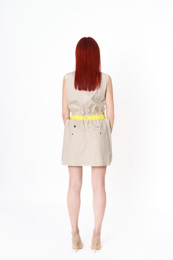 Yellow Dress Wear Off beat Convertible Beige Tunic Modern Neon Sleeveless Cotton Girls Extravagant Short Summer Adn6qfgnx