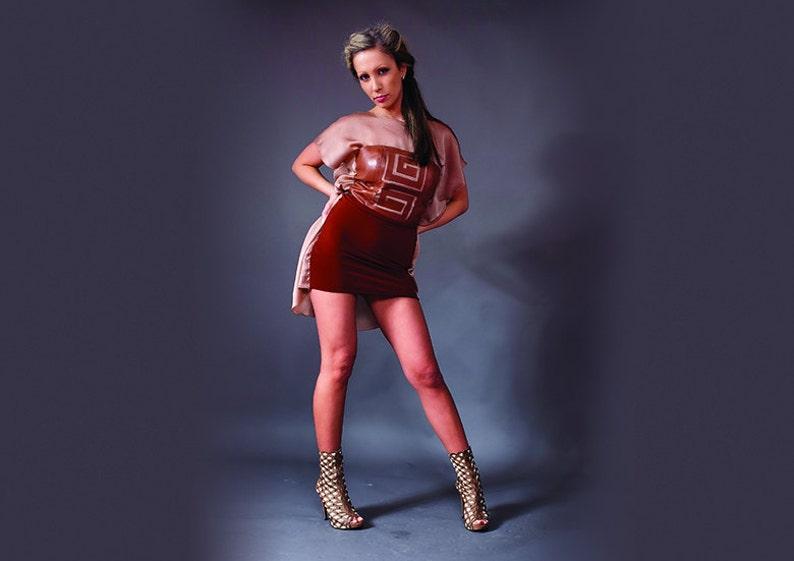 3ca6d535de Summer Club Chiffon Genuine Leather Dress Sexy Brown Brick