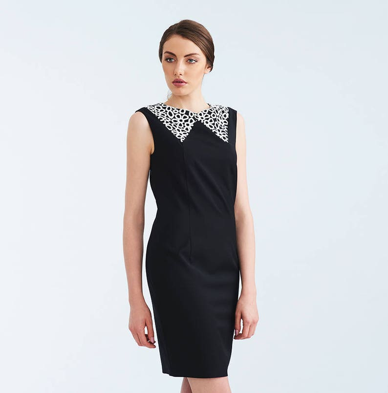 60bf06d2e50 Wedding Guests Little Black Dress White Lace Collar Knee