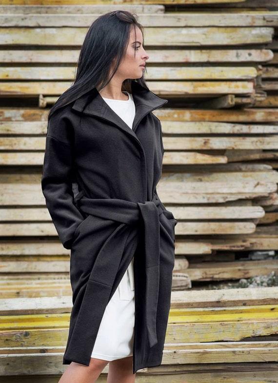 85bfa3770ab Plus size Black Cashmere Coat Long Belted Wool Coat Oversize