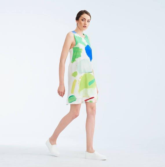 Abstrait Vert Blanc Imprime Colore Soie D Ete Robe Mode