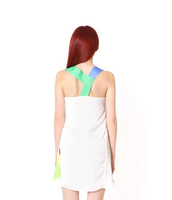 Printed Tunic Silk Colorful Fashion Above Green Summer Dress Trendy Guest the Abstract Wedding White Art Knee Light Gown Loose Comfortable XwtWEqx8t