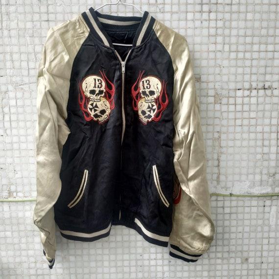 Black SKULL flame fire vintage 80s Sukajan Jacket