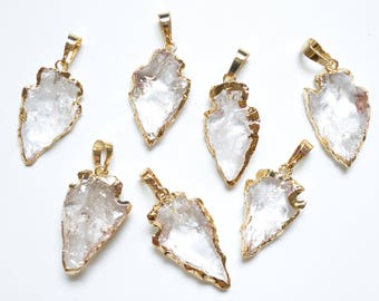 Arrowhead pendant etsy nature clear quartz crystal arrowhead pendant clear crystal arrow head wedding party bridal jewelry findingsjewelry gem charms finding aloadofball Image collections
