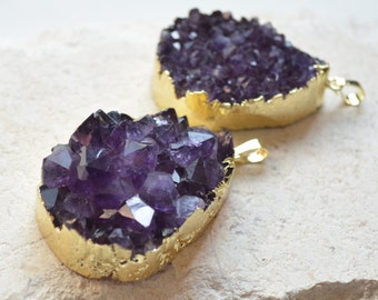 Druzy Sale Luster Blue Druzy Electroplated and Amethyst Crystal Beaded Jewelry Set