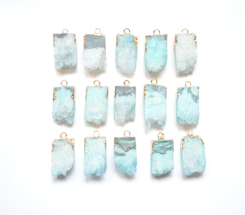 light green Druzy Cluster pendant with Gold Electroplated Edges--Drusy Pendant Mint green agate slice drusy Druzy pendant