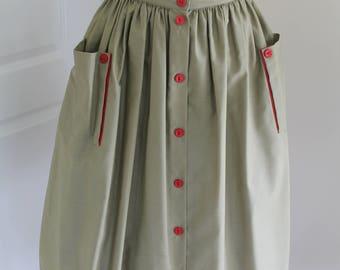 Vintage Skirt Khaki/ Red
