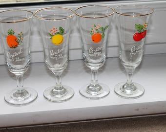 Set Vintage Britvic Fruit Juice Glasses