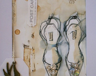 Handmade, Original, Mixed Media, Framed Illustration...Shoes not Men..were Gods Gift to Women...