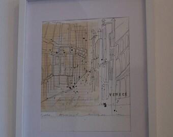 Handmade, Original, Framed Illustration...Venice
