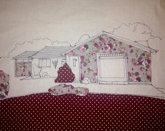Home Portrait...Handmade, Personalised Embroidered Home Portrait for Wedding & New Home Gifts.
