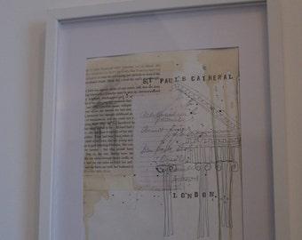 Handmade, Original Illustration Framed Picture...Doric Architectural Detail