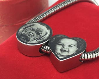 Photo Engraved Stainless Steel Heart Charm Bead - Fits Pandora Bracelets & Bangles - Custom Personalised Gift