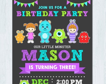 Monsters Inc Invitation, Monster Inc Invitation, Monster invitation, Monster Birthday Invitation, Monster inc birthday invitation