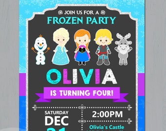 Frozen invitation etsy frozen invitation frozen digital invite frozen princesses printable elsa and anna digital file birthday party invitation filmwisefo