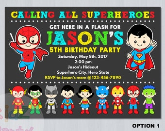 superhero invitation instant download etsy