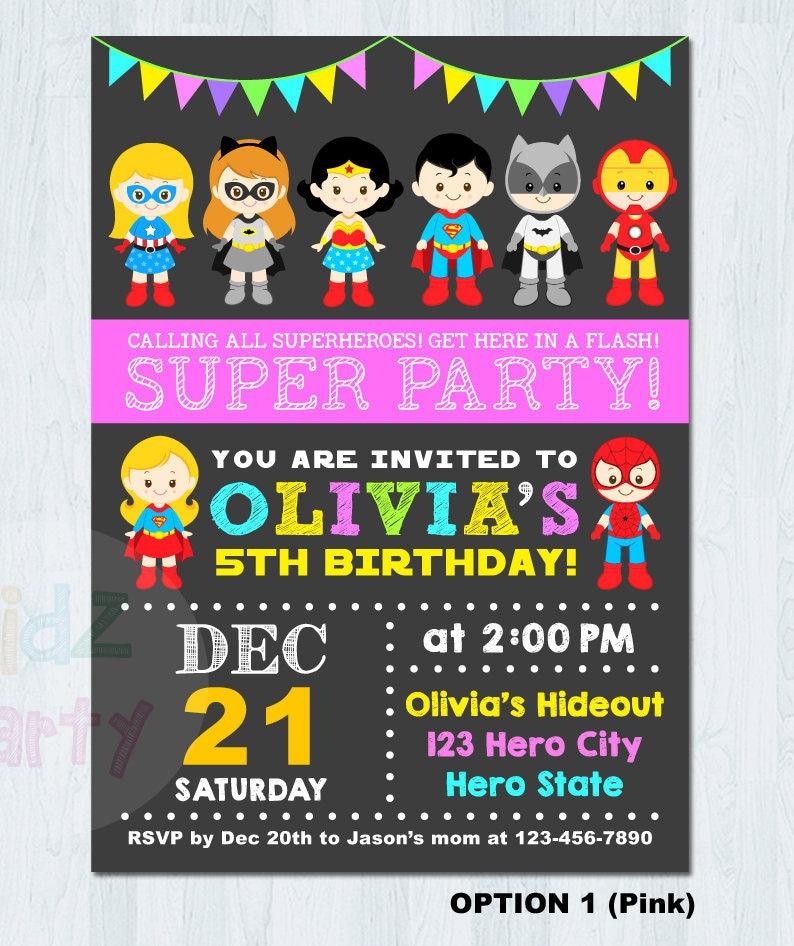 SUPERHERO And SUPER GIRL Birthday Invitation Invite