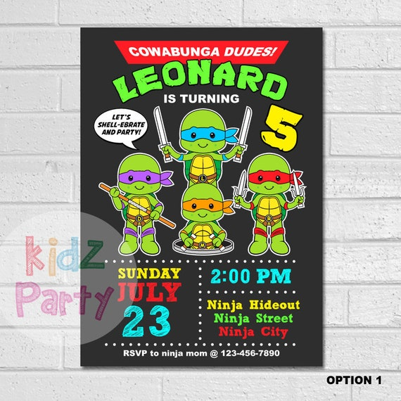 Invitations tmnt birthday invitation teenage mutant ninja etsy image 0 filmwisefo