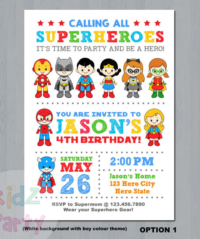 Superhero Boy And Girl Invitation Super Hero Party
