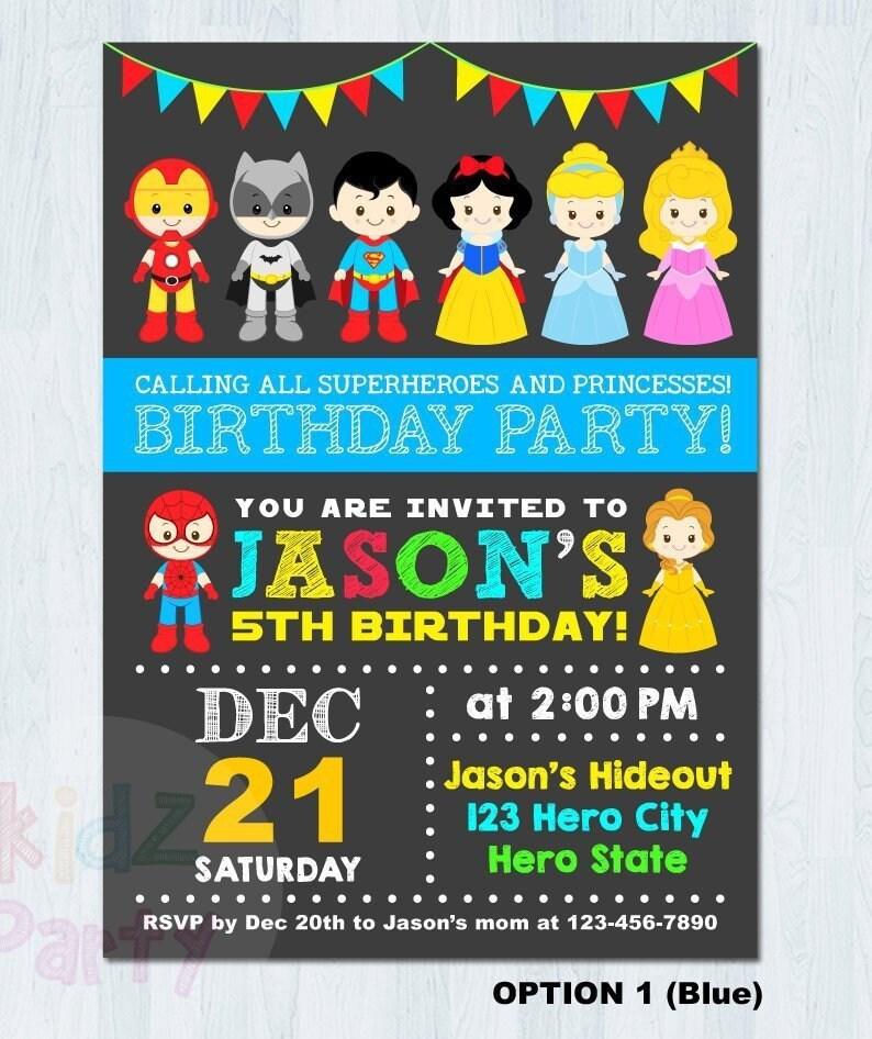 Princess Superhero Party Invitation Princess Superhero Etsy