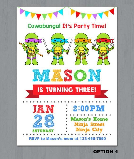 Ninja Turtle Birthday Invitation Ninja Turtles Invitations Etsy