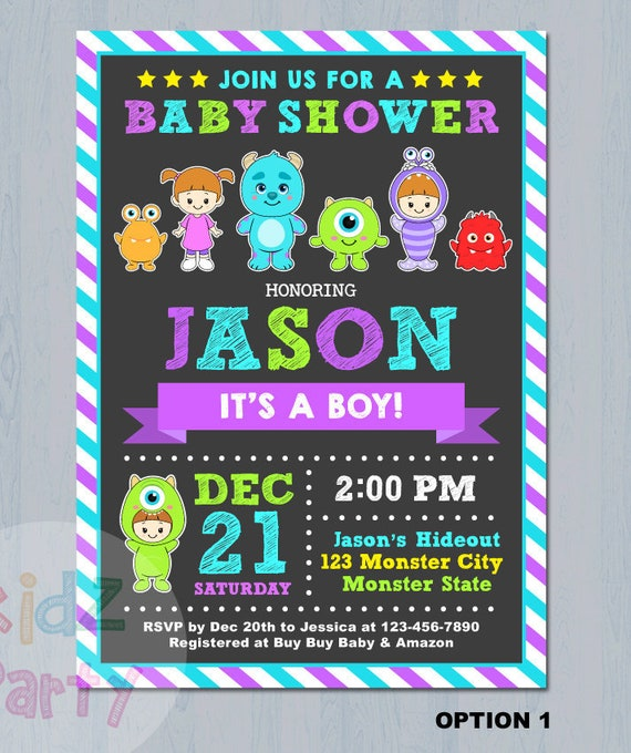 Monsters Inc Invitation Monsters Inc Baby Shower Invitation Etsy