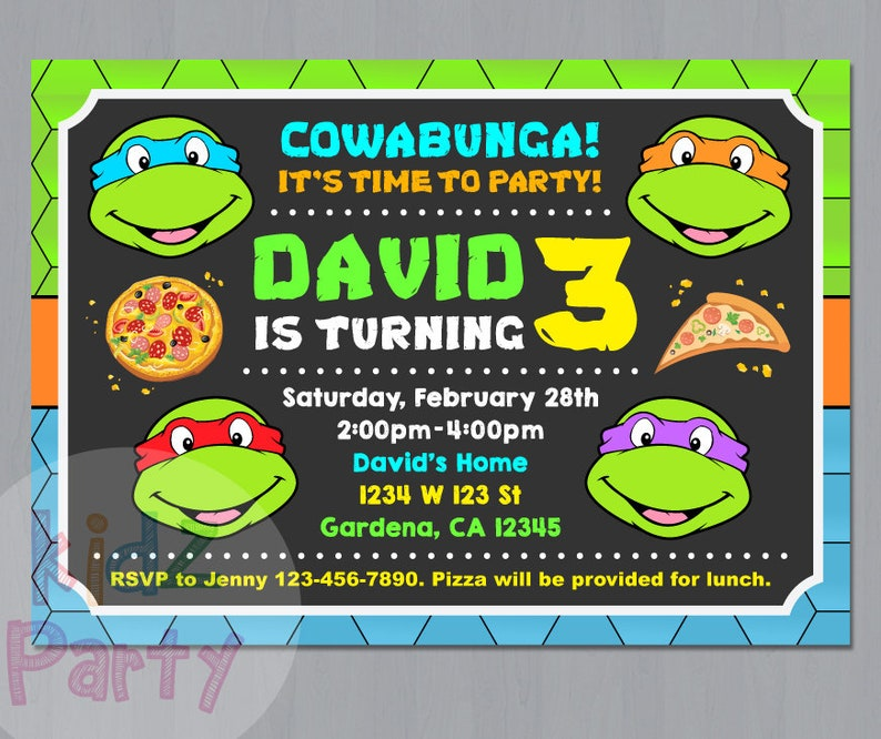 Ninja Turtle Invitation Turtles Party TMNT Teenage Mutant Invitations Birthday Card