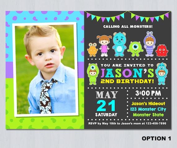 Monster Inc Birthday Invitation Monster Inc Invitation Etsy