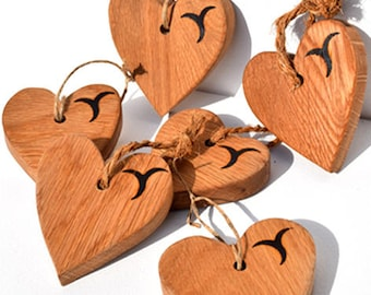Handcrafted Oak Hearts