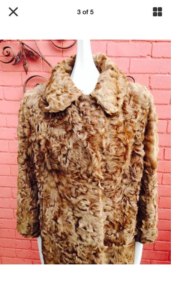 Vintage curly lamb fur coat - image 3