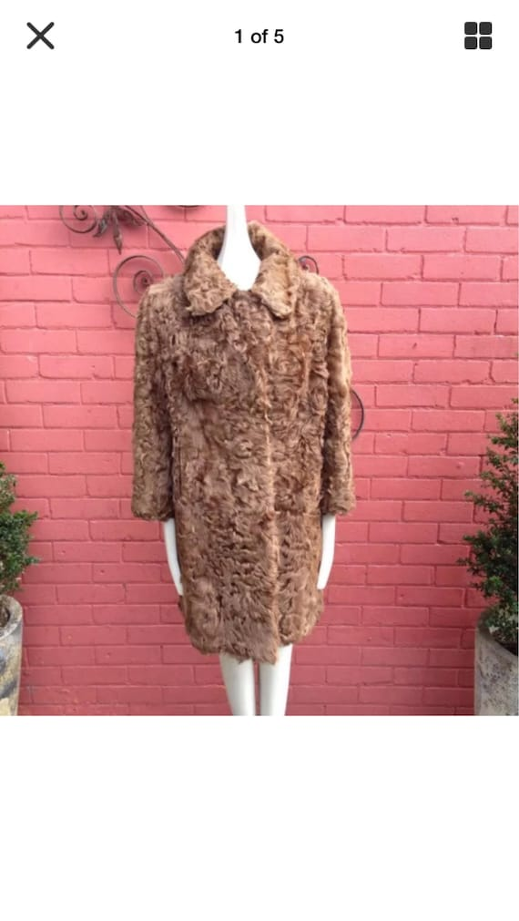 Vintage curly lamb fur coat - image 5