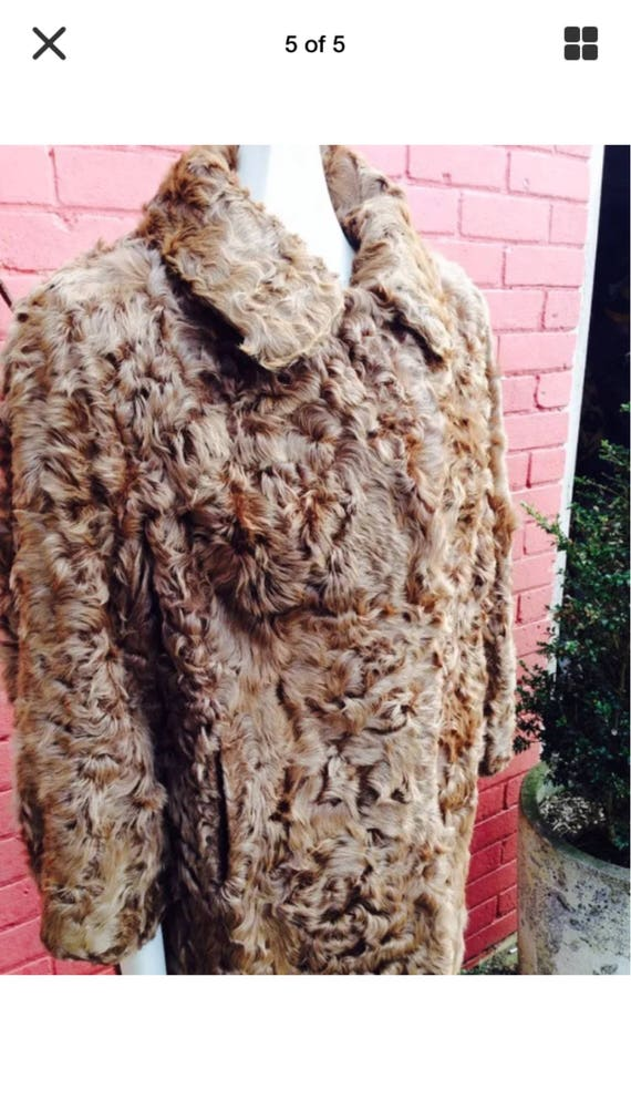 Vintage curly lamb fur coat - image 1