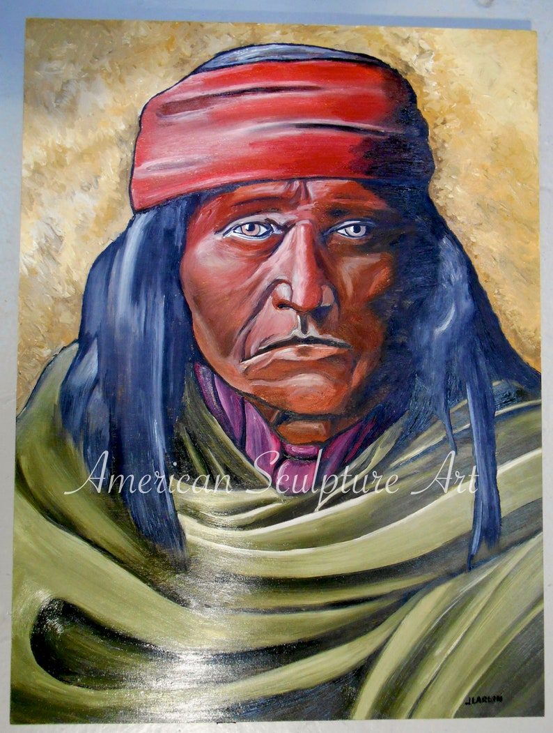 520bc69b4f99e Apache Brave Native American Oil Painting American Indian