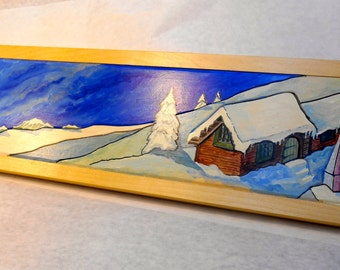 Winter Scene Oil Painting on Wood, Carved Oil Painting on Wood, Winter Village Oil Painting