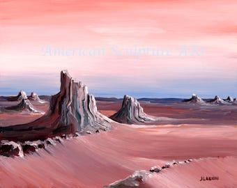 Southwestern Landscape Instant Art- Download-Printable Decor, red Planet, Terrestrial Oil Painting, Printable Original Landscape Art