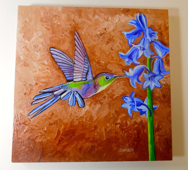 8x8 Oil Painting on Birch Panel Home Decor Humming Bird Painting original Oil Painting Humming Bird Oil Painting Bird Print