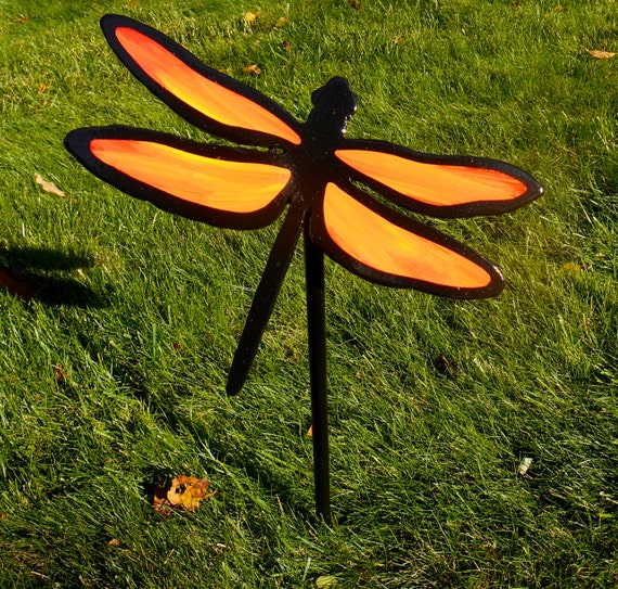 Metal Dragonfly Lawn And Garden Stake Orange Dragonfly Garden | Etsy