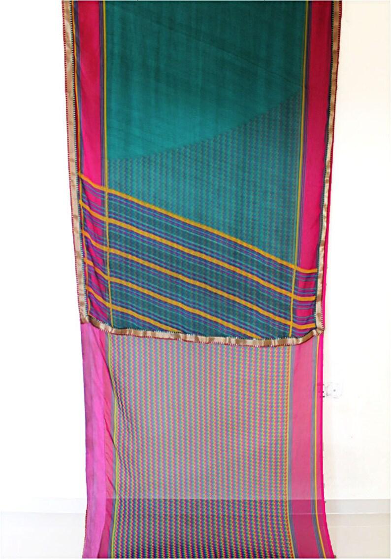decor curtain green Saree free shipping Indian saree preowned indian fabric home Decor Fabric Indian Vintage Sari designer Sari