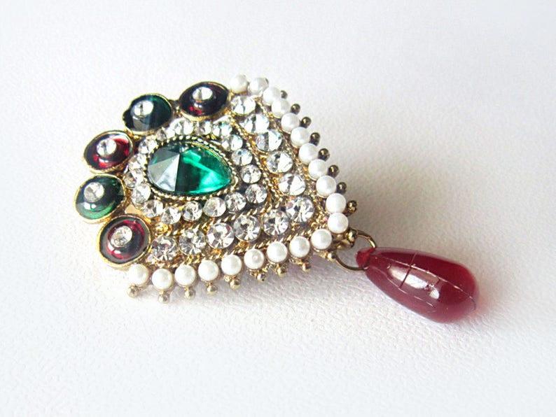 Saree Pin, Sari Brooch, Coat Jacket Pin, Indian Jewellery, sari pin, saree  brooch, safety pin, sari clip, Diamante Stones, bridal jewellery