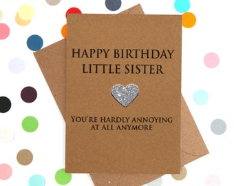 Funny Sister Birthday Card LIttle Sister Card Little Sister Birthday Card Sister Birthday Card Funny little sister birthday card