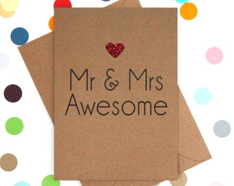 Funny Wedding Card, Wedding card, Funny Marriage Card, Mr and Mrs Card, Congratulations card, Funny card, :  Mr and Mrs Awesome