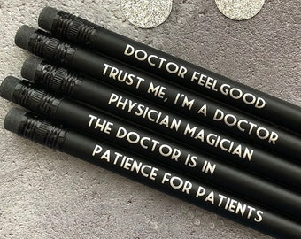 Doctor present, gift for doctor, Doctor Birthday Gift, New Doctor Gift, Doctor Graduation Gift, Printed pencils, Funny Pencil Set, Doctor