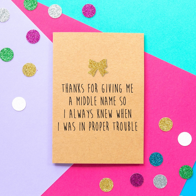 Funny Mother's Day Card  Thanks For Giving Me A Middle image 0
