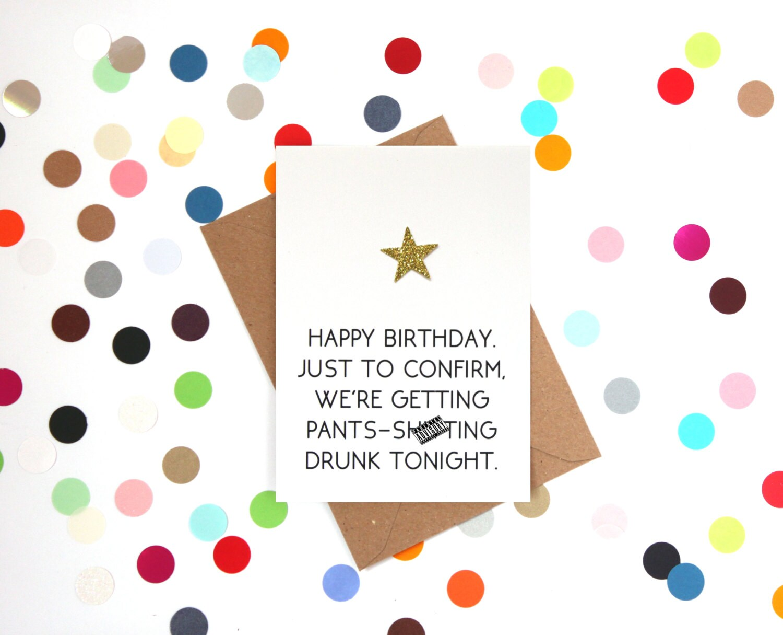 Rude Birthday Card Funny Friend Drinking